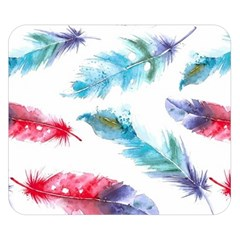 Watercolor Feather Background Double Sided Flano Blanket (Small)