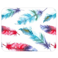 Watercolor Feather Background Double Sided Flano Blanket (Medium)