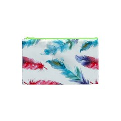 Watercolor Feather Background Cosmetic Bag (XS)