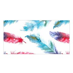 Watercolor Feather Background Satin Shawl