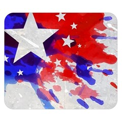 Stars Red Blue Watercolor Double Sided Flano Blanket (Small)