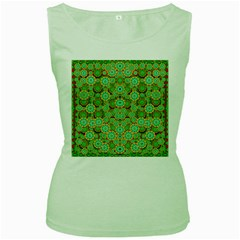 Flowers In Mind In Happy Soft Summer Time Women s Green Tank Top