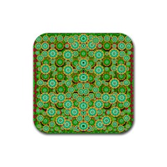 Flowers In Mind In Happy Soft Summer Time Rubber Square Coaster (4 pack)