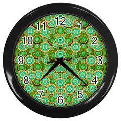 Flowers In Mind In Happy Soft Summer Time Wall Clocks (Black)