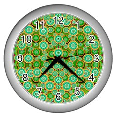 Flowers In Mind In Happy Soft Summer Time Wall Clocks (silver)