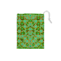 Flowers In Mind In Happy Soft Summer Time Drawstring Pouches (Small)