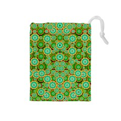 Flowers In Mind In Happy Soft Summer Time Drawstring Pouches (medium)