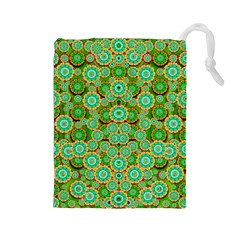 Flowers In Mind In Happy Soft Summer Time Drawstring Pouches (Large)