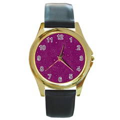 Awesome Allover Stars 01e Round Gold Metal Watch
