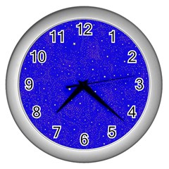 Awesome Allover Stars 01f Wall Clocks (Silver)