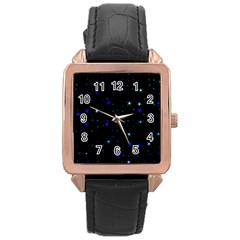 Awesome Allover Stars 02 Rose Gold Leather Watch