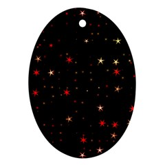 Awesome Allover Stars 02b Oval Ornament (Two Sides)