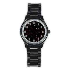 Awesome Allover Stars 02b Stainless Steel Round Watch