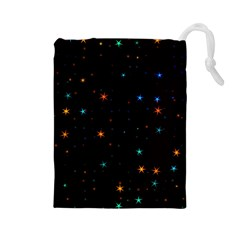 Awesome Allover Stars 02e Drawstring Pouches (Large)