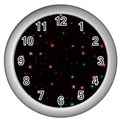 Awesome Allover Stars 02f Wall Clocks (Silver)