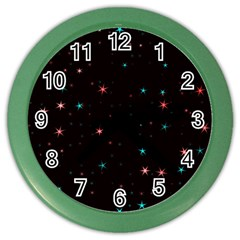 Awesome Allover Stars 02f Color Wall Clocks