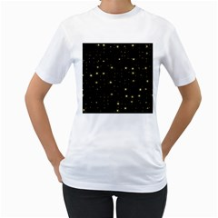 Awesome Allover Stars 02a Women s T-Shirt (White) (Two Sided)