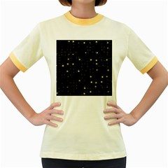 Awesome Allover Stars 02a Women s Fitted Ringer T-Shirts