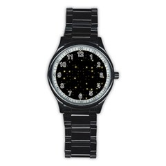 Awesome Allover Stars 02a Stainless Steel Round Watch