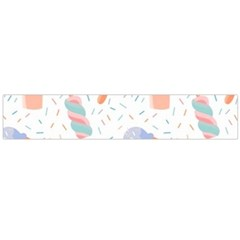 Hand Drawn Ice Creams Pattern In Pastel Colorswith Pink Watercolor Texture  Flano Scarf (Large)