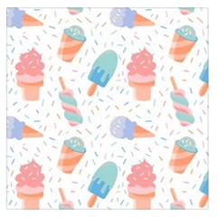 Hand Drawn Ice Creams Pattern In Pastel Colorswith Pink Watercolor Texture  Large Satin Scarf (Square)
