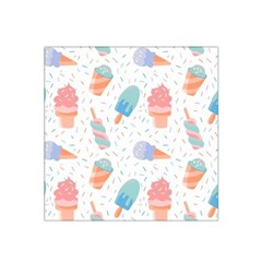 Hand Drawn Ice Creams Pattern In Pastel Colorswith Pink Watercolor Texture  Satin Bandana Scarf