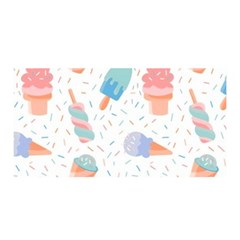 Hand Drawn Ice Creams Pattern In Pastel Colorswith Pink Watercolor Texture  Satin Wrap