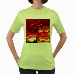 Nice Rose With Water Women s Green T Shirt