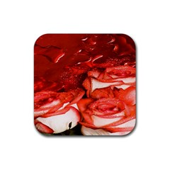 Nice Rose With Water Rubber Square Coaster (4 pack)