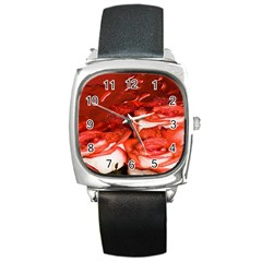 Nice Rose With Water Square Metal Watch