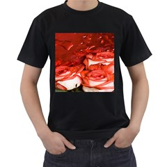 Nice Rose With Water Men s T-Shirt (Black) (Two Sided)