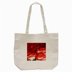 Nice Rose With Water Tote Bag (Cream)