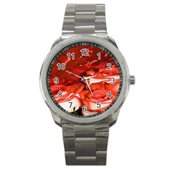 Nice Rose With Water Sport Metal Watch