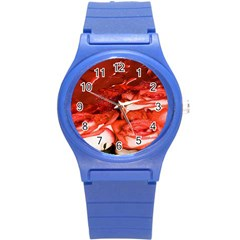 Nice Rose With Water Round Plastic Sport Watch (s)
