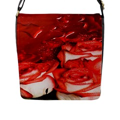 Nice Rose With Water Flap Messenger Bag (L)