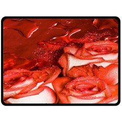 Nice Rose With Water Double Sided Fleece Blanket (large)