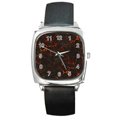 Volcanic Textures Square Metal Watch