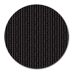Dark Black Mesh Patterns Round Mousepads