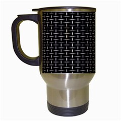 Dark Black Mesh Patterns Travel Mugs (White)