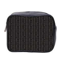Dark Black Mesh Patterns Mini Toiletries Bag 2 Side