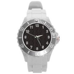 Dark Black Mesh Patterns Round Plastic Sport Watch (l)