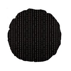 Dark Black Mesh Patterns Standard 15  Premium Round Cushions