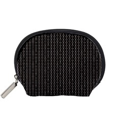 Dark Black Mesh Patterns Accessory Pouches (Small)