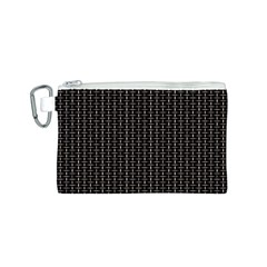 Dark Black Mesh Patterns Canvas Cosmetic Bag (S)