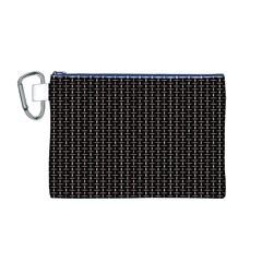 Dark Black Mesh Patterns Canvas Cosmetic Bag (M)