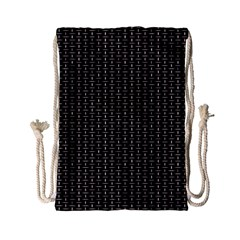 Dark Black Mesh Patterns Drawstring Bag (Small)