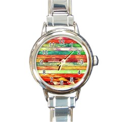 Stripes Color Oil Round Italian Charm Watch