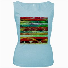 Stripes Color Oil Women s Baby Blue Tank Top