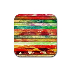 Stripes Color Oil Rubber Square Coaster (4 pack)