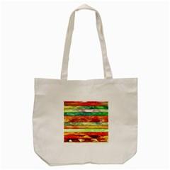 Stripes Color Oil Tote Bag (cream)